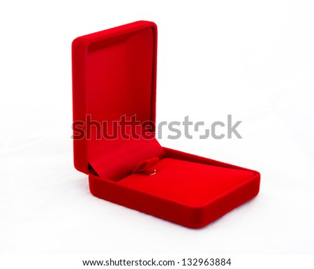 Empty red jewelry box  isolated on white background