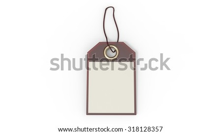 Empty red label or price tag with cord, isolated on white background