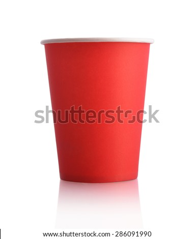 Empty red paper cup isolated on white background
