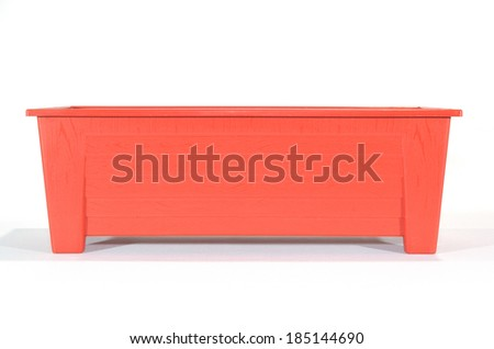 empty red rectangle flower pot on isolated background