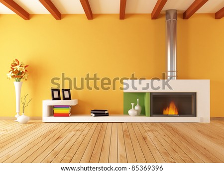 Empty red room with closed white door-rendering - stock photo