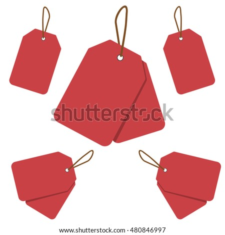 Empty red sale price tag collection. Sale tags set. Raster illustration.