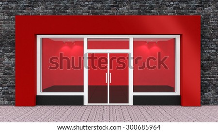 Empty Red Store Front with Big Windows - stock photo