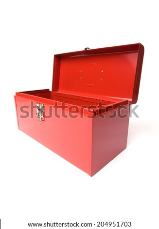 Empty Red toolbox on white background