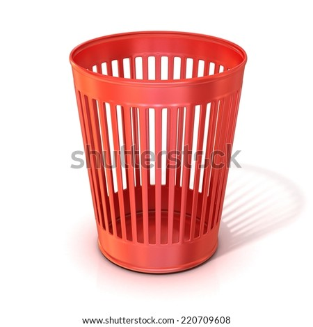 Empty red trash bin, garbage can isolated on white background - stock photo