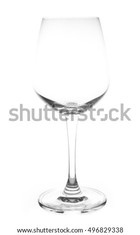 empty red wine glasses isolated on white background
