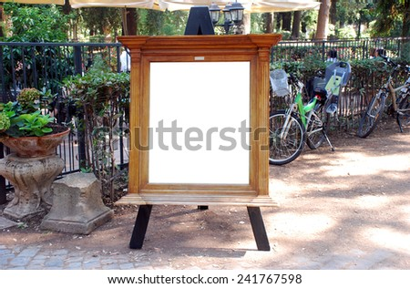 Empty restaurant menu Chalkboard with wooden frame - stock photo