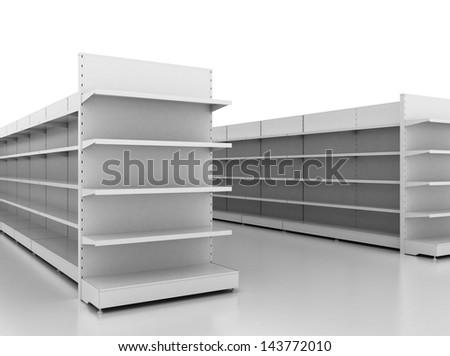 Empty retail shelves - stock photo