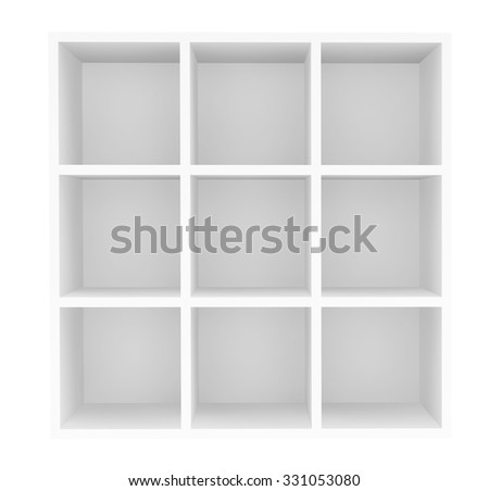 Empty Retail Shelves on a white background