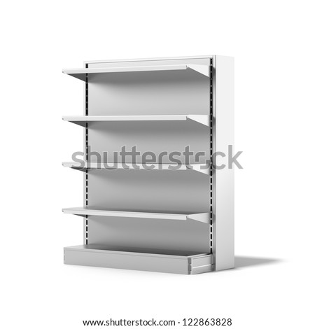 Empty Retail Store Shelf isolated on a white background - stock photo