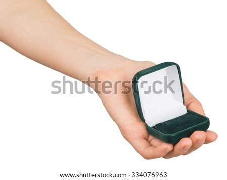 Empty ring box in humans arm on isolated white background