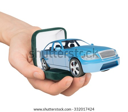 Empty ring box with car in humans hand on isolated white background