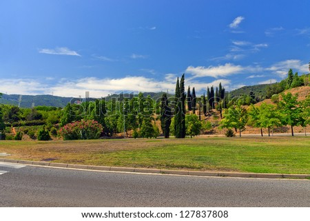 Empty road and blue sky. Barcelona. Catalonia. Spain - stock photo