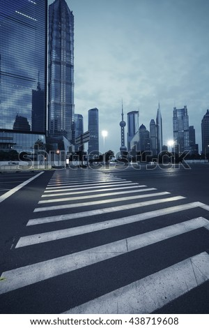 Empty road floor with city landmark office buildings backgrounds in shanghai China