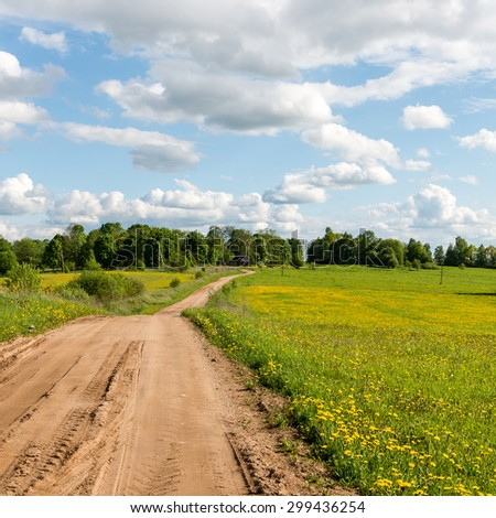 empty road in the countryside with trees and meadows in surrounding. perspective.. square image.