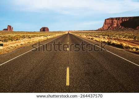 Empty Road in the Monument Valley - stock photo