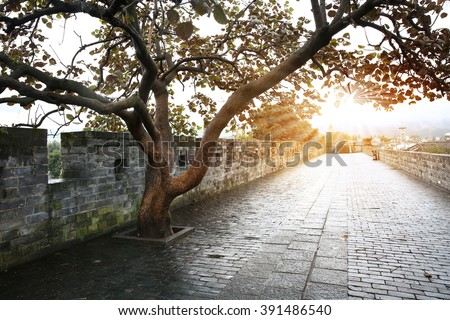 Empty road on town wall in China - stock photo