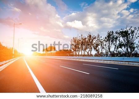 empty road, overpass of shanghai china. - stock photo