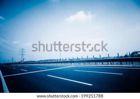 empty road, overpass of shanghai china. blue toned images. - stock photo