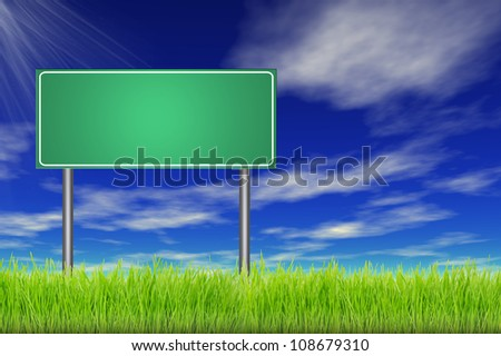 Empty road sign in a green summer grass over a blue sky background - stock photo