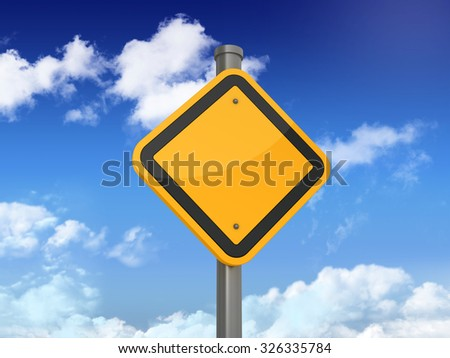 Empty Road Sign on Blue Sky and Clouds Background. High Quality 3D Rendering - stock photo