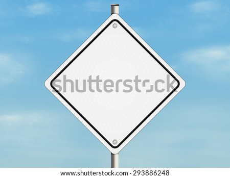 Empty road sign on the sky background. Place for any text. Raster illustration. - stock photo
