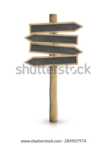 Empty road signs with black blackboard signs isolated on white - stock photo