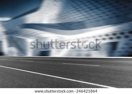 empty road with motion blur background. - stock photo