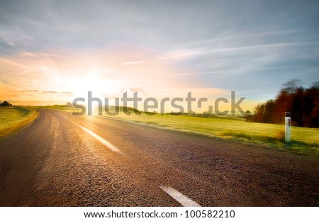 Empty road with slight motion blur