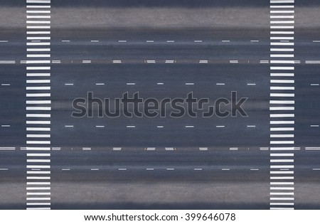 empty road with two pedestrian crossings, top view - stock photo