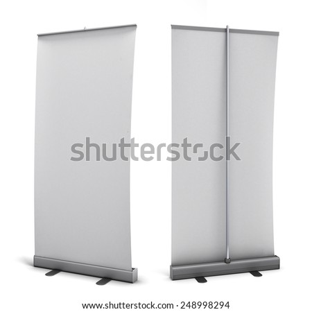 Empty rollup rear view and front view isolated on white background. 3d render image. - stock photo