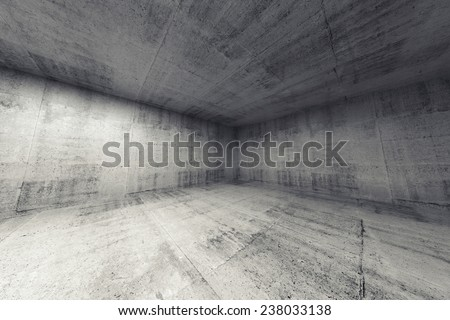 Empty room, abstract concrete 3d interior. Wide angle rendering - stock photo