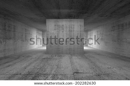 Empty room, abstract concrete interior. 3d render illustration - stock photo