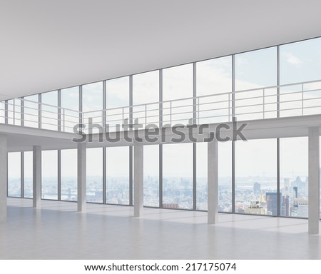 Empty room and panoramic city view on the outside, 3D rendering - stock photo