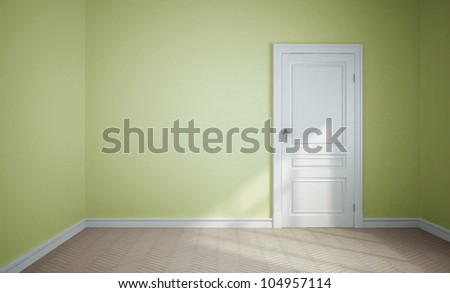 empty room and white door - stock photo