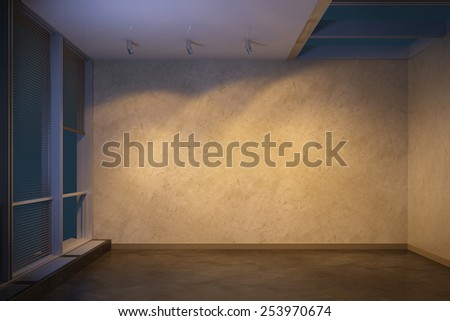empty room at evening, 3d rendering - stock photo