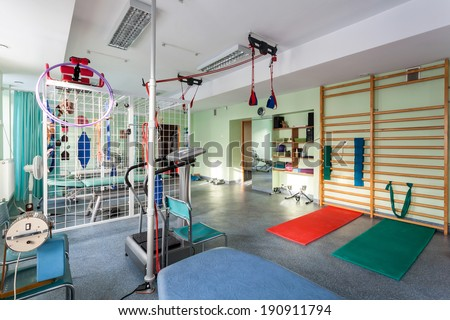 Empty room at small physiotherapy clinic, horizontal - stock photo