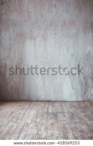 Empty room background. Wall and wooden floor.