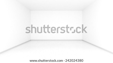 Empty room, blurred in white clean environment. Slightly visible wood floor planks in white - stock photo
