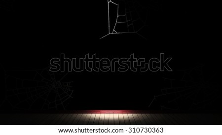 Empty room, floor, baseboards, wall. Done in shades of black, red plinth, wallpaper with cobwebs. 3d illustration