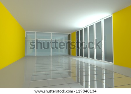 Empty room for interior seminar room color yellow wall - stock photo