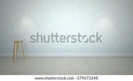 Empty room granite floor blue wallpaper with small table and built-in down-light.