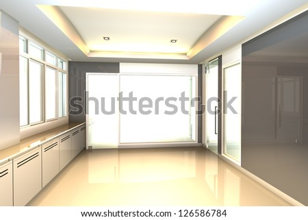 Empty room gray tone for office interior - stock photo