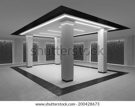 Modern Columns empty room modern style columns niches stock illustration