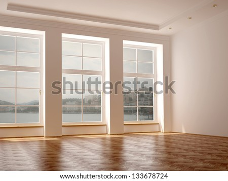Empty room in classical style with elegance parquet and large windows with views of the lake - stock photo