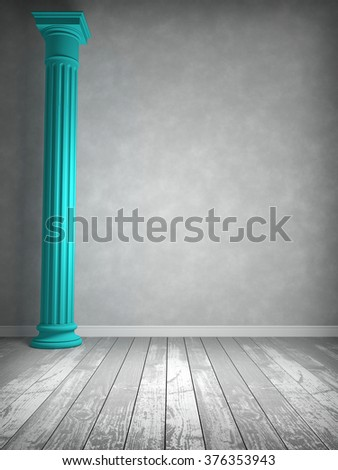 Empty room in gray colors in which the column is painted in a bright color