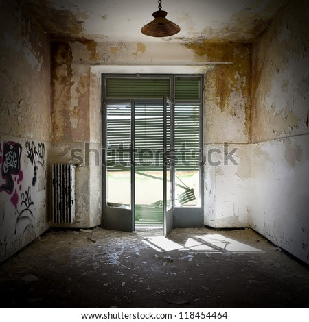 empty room, interior of a old house - stock photo