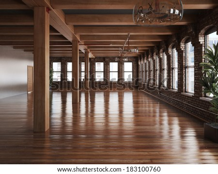 Empty room interior of a residence or office space with rustic timbers and wood floors. - stock photo