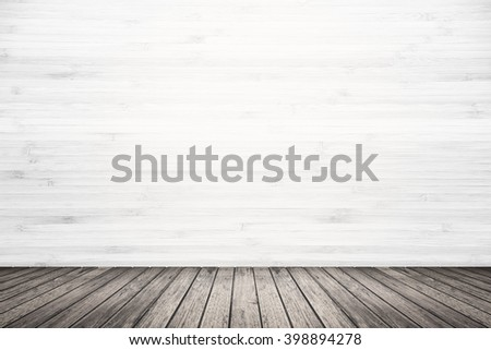 Empty room interior of old grunge white wood wall and dark brown wooden floor, use for background, backdrop or design element in architecture concept - stock photo