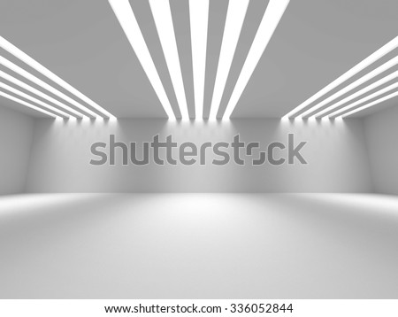Empty Room Interior White Background. 3d Render Illustration - stock photo